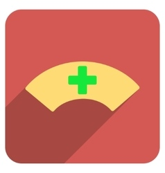 Medical visor flat rounded square icon with long vector