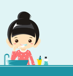A girl brushing teeth- vector