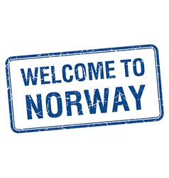 Welcome to norway blue grunge square stamp vector