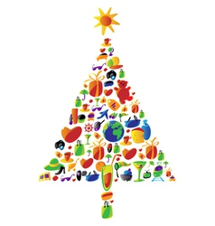 Christmas tree made of icons vector image