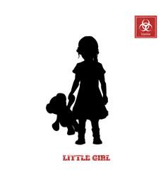 black silhouette of little girl vector image