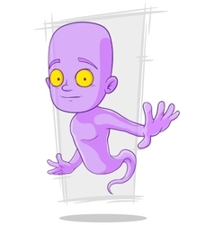 Cartoon cute little violet ghost vector image