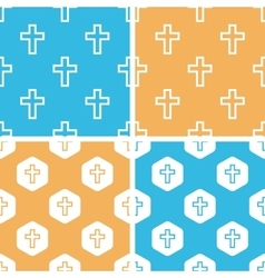 Catholic cross pattern set colored vector image