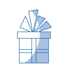 christmas gift box with ribbon bow vector image vector image