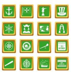 Columbus day icons set green vector