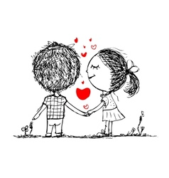 Couple in love together valentine sketch for your vector image