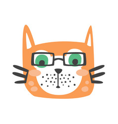 Cute red cat head in glasses funny cartoon animal vector