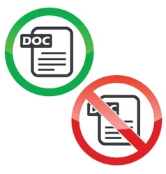 DOC file permission signs set vector image