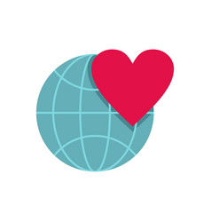 Earth world globe with heart icon flat style vector
