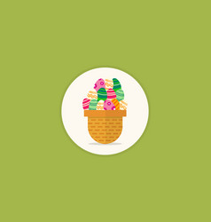 Easter egg on basket background vector