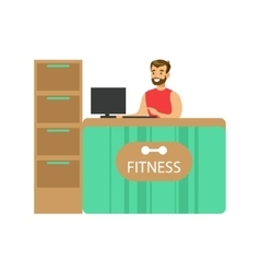 Fitness club reception counter with male vector