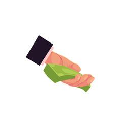flat man hand giving money vector image vector image