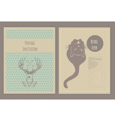 Hand drawn collection of cute vintage flyers vector image