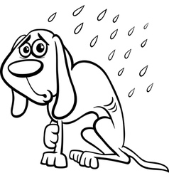 Homeless dog cartoon coloring page vector