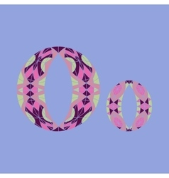 Low poly letter o in colored mosaic polygon vector