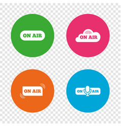 on air icons live stream signs microphone vector image