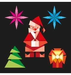 Origami christmas icons cartoon vector image