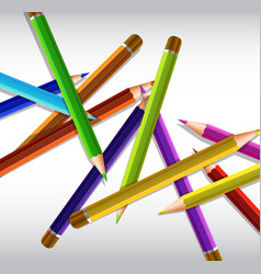 Pile of color pencils on gray paper vector
