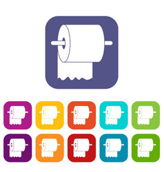 Roll of toilet paper on holder icons set flat vector