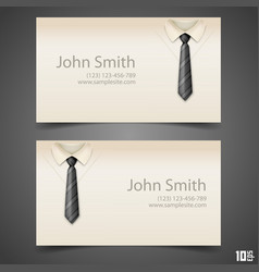 shirt and tie business card vector image