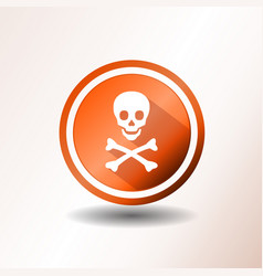 Skull and crossbones icon in flat design vector