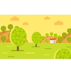 Village garden or fruit farm landscape vector