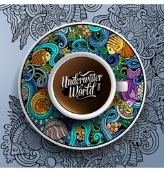 with a cup of coffee and hand vector image