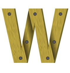 wood letter W vector image vector image