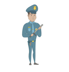 Young serious hispanic policeman with baton vector