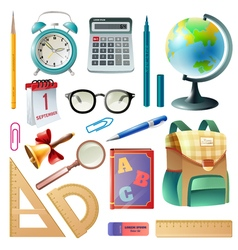 School supplies realistic icons collection vector