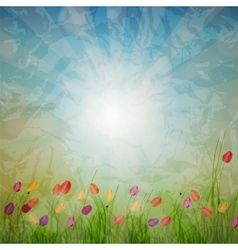 Summer abstract background with grass and tulips vector