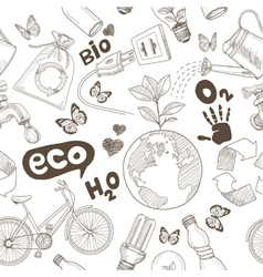 Ecology doodles icons seamless vector