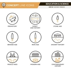 Concept line icons set 7 history vector