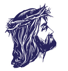 Jesus christ the son of god in a crown of thorns vector