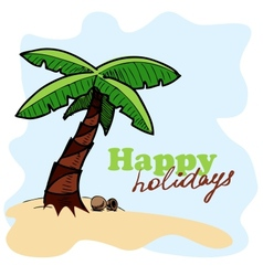 Tropic island background card concept vector