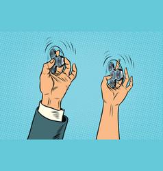 Man and woman arm twist hand fidget spinner vector