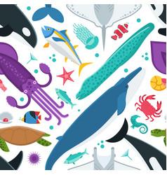 sea animals seamless pattern vector image