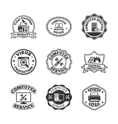 Computer repair labels icons set vector