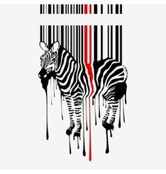 Zebra silhouette with bar code vector