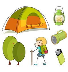 Hiking boy and camping equipments vector