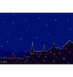 Night winter city vector