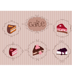 Vintage cakes background vector