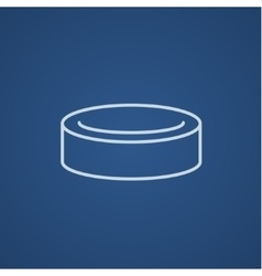Hockey puck line icon vector