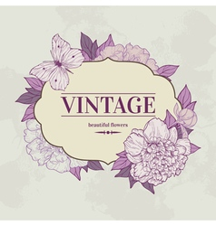 Intage background with peony and butterfly vector