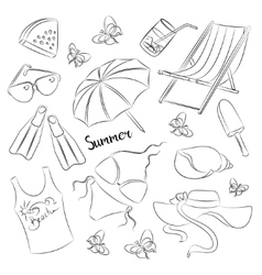 Collection of summer symbols vector