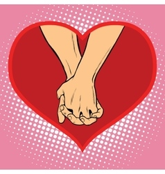 Male and female hand together in a red heart vector