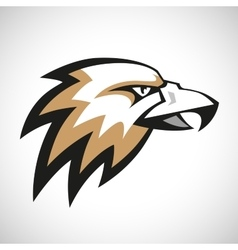 Black grey and brown eagle head logotype on white vector image