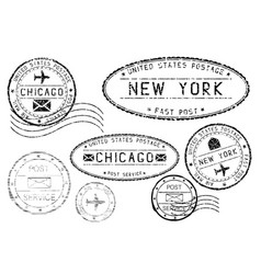 Black mail stamps of new york and chicago vector