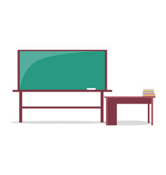 Blackboard with piece of chalk and teachers table vector