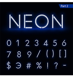Blue glowing font from a Neon tube vector image vector image